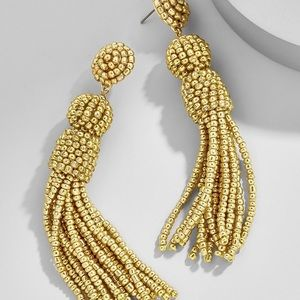 BaubleBar Gold Beaded Tassel Earrings • NWOT